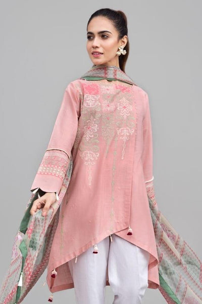 WHISPER PINK Slub Law+ Embroidered Shirt Pure Chiffon Dupatta Ready To Wear - leftover.pk
