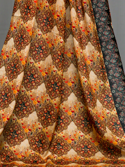 Beige and Brown Unstitched Lawn Printed Shirt (YS-001) - leftover.pk