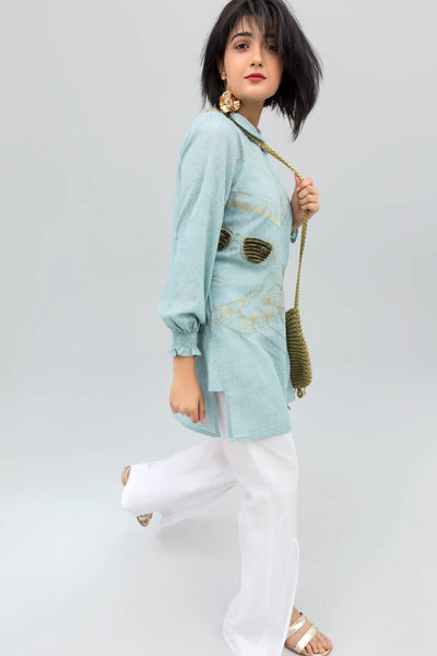 Sea Green Knot Shirt with Experimental Embroidery on 100% cotton - leftover.pk
