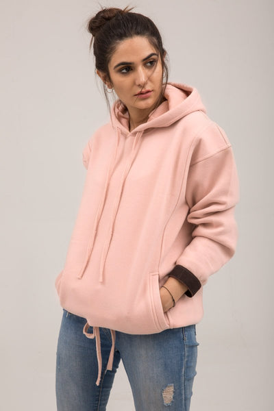 Pink Fleece Winter Hoodie - leftover.pk