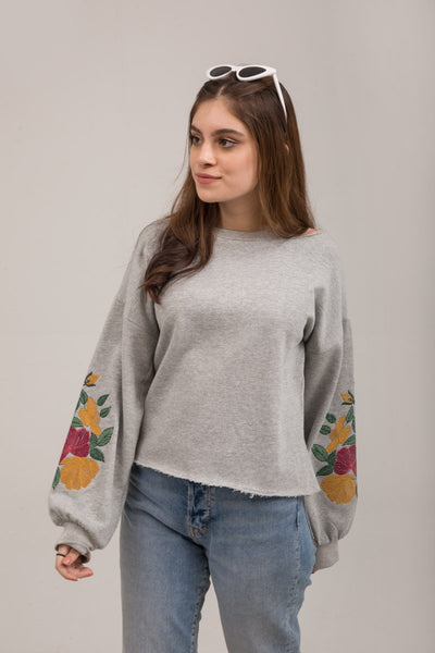 Heather Gray Embroidered Fleece Sweat Shirt - leftover.pk