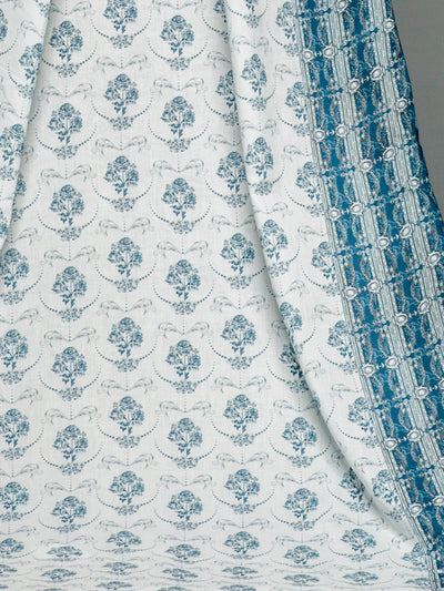 White & Azure Blue Unstitched Lawn Printed Shirt - leftover.pk