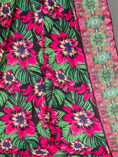 Purple & Green Unstitched Lawn Printed Shirt (YS-001) - leftover.pk