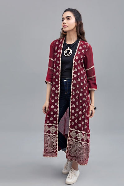 Block Printed Rouge long jacket cotton net Fabric - leftover.pk