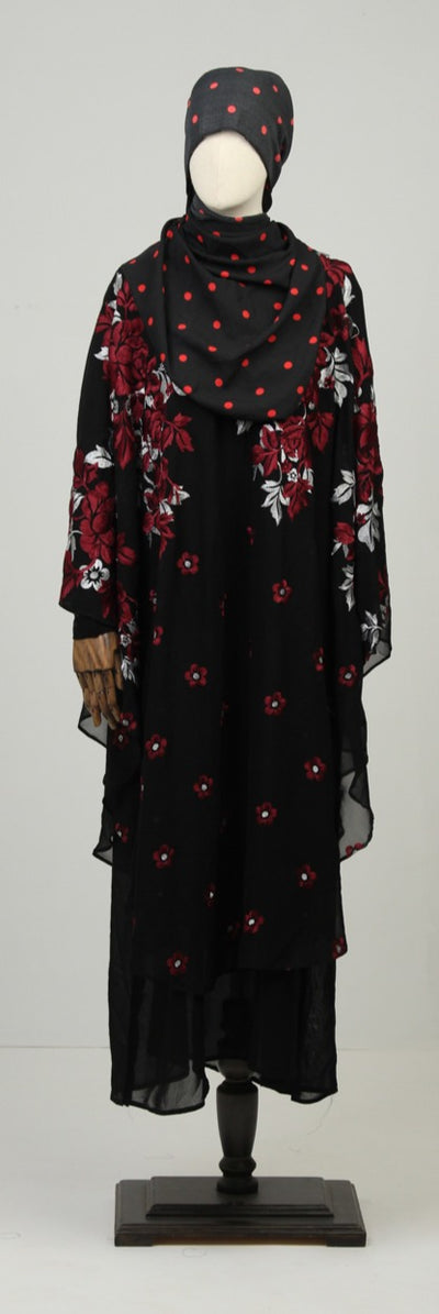 Red & Black Ready to Wear Abaya with Scarf - leftover.pk