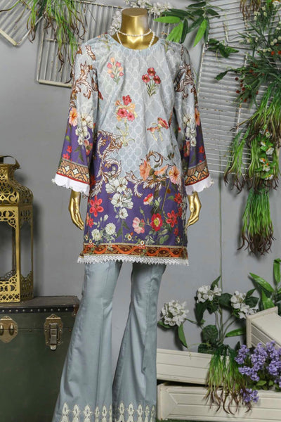 (B02) 3 Pc - Unstitched JACQUARD Printed & Embroidered Shirt + Egyptian Lawn Dupatta + Trousers (165-BRK-3PU-005) - leftover.pk