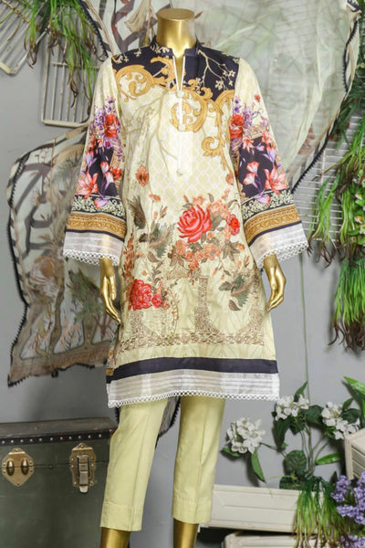 (B02) 3 Pc - Unstitched JACQUARD Printed & Embroidered Shirt + Chiffon Dupatta + Trousers (165-BRK-3PU-003) - leftover.pk