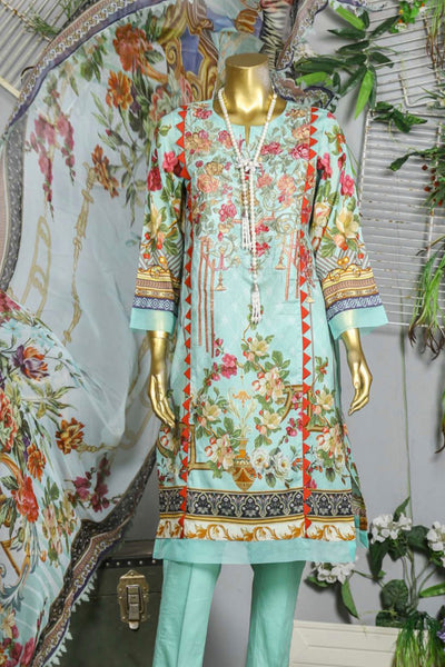 (B02) 3 Pc - Unstitched JACQUARD Printed & Embroidered Shirt + Chiffon Dupatta + Trousers (165-BRK-3PU-004) - leftover.pk