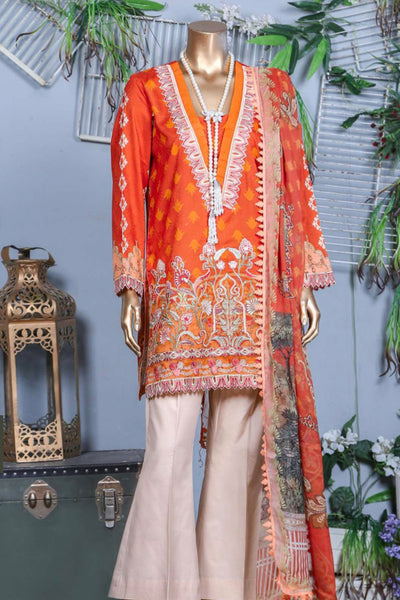 (B02) 3 Pc - Unstitched JACQUARD Printed & Embroidered Shirt + Chiffon Dupatta + Trousers (165-BRK-3PU-006) - leftover.pk