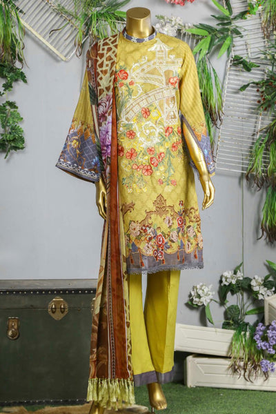 (B02) 3 Pc Unstitched JACQUARD Printed & Embroidered Shirt + Voile Lawn Printed Dupatta + Trousers (165-BRK-3PU-001) - leftover.pk