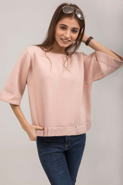 Light Pink Crew neck sweat shirt - leftover.pk
