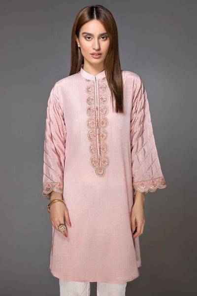 Light Pink Raw Silk Embroidered Ready To Wear Kurta (YS-001) - leftover.pk