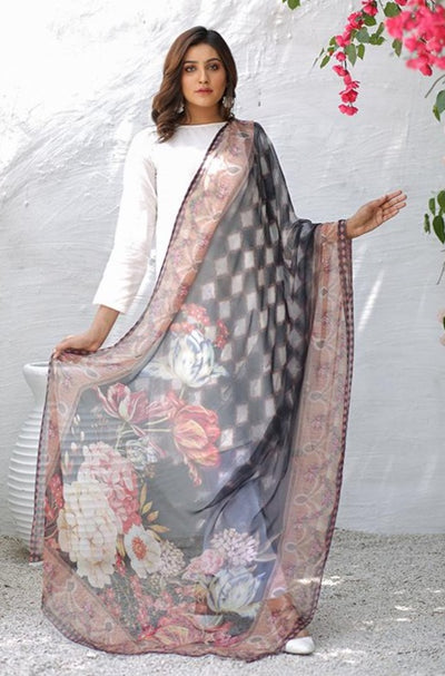 (B03) Brown Digital Printed Pure Chiffon Dupatta (905-DP-009) - leftover.pk