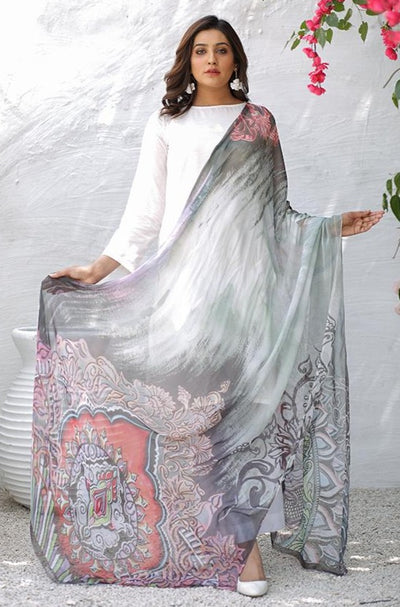 (B03) Multi Color Digital Printed Pure Chiffon Dupatta (905-DP-0010) - Set of 5 Pieces - leftover.pk