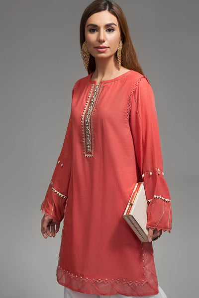 Intrepide Coral Pink 1pc Straight Shirt (Mix Karandi) - leftover.pk