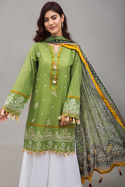 GLADE GREEN Lawn Embroidered Shirt and Pure Chiffon Dupatta - Ready To Wear - leftover.pk