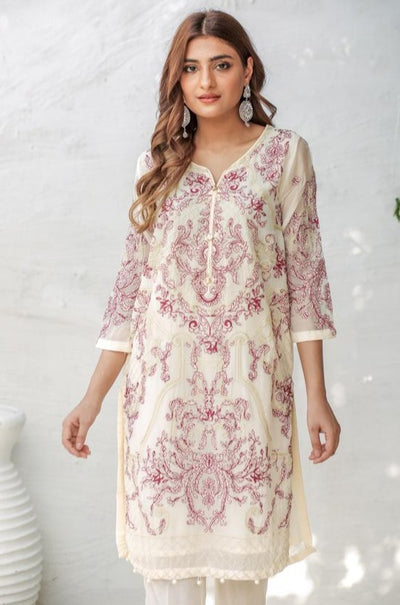 White Embroidered Chiffon Ready To Wear - leftover.pk