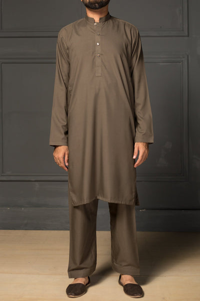 Mens Dark Green Stitched Shirt + Shalwar Wash n wear -1507 - leftover.pk