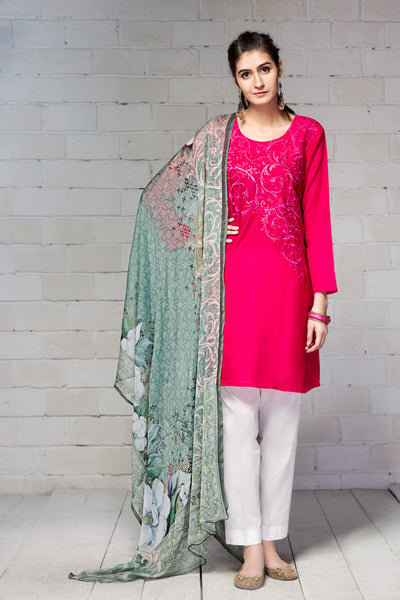 2 Pc - Unstitched Khaddar & Embroidered Shirt + Chiffon Dupatta - leftover.pk