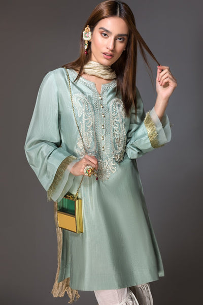 Sea Green Raw Silk Embroidered Ready To Wear Kurta (YS-001) - leftover.pk