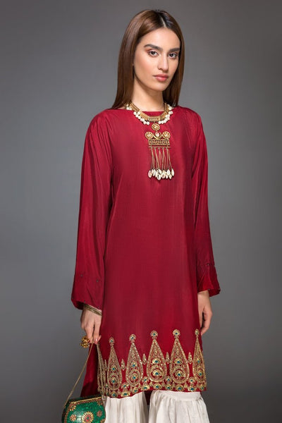 Maroon Raw Silk Embroidered Ready To Wear Kurta (YS-001) - leftover.pk