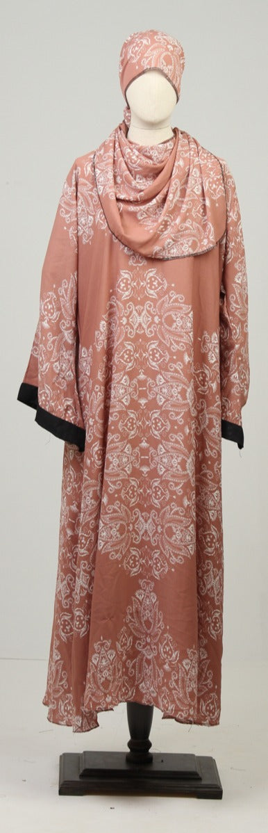 Pink & White Ready to Wear Abaya with Scarf - leftover.pk