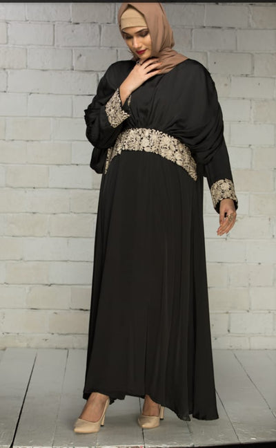Black Silk with Ivory Detailing Embroidered Abaya - Ready To Wear - leftover.pk