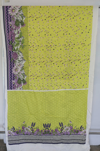 Unstitched - Green Yellow Print Digital Printed LAWN Shirt - leftover.pk