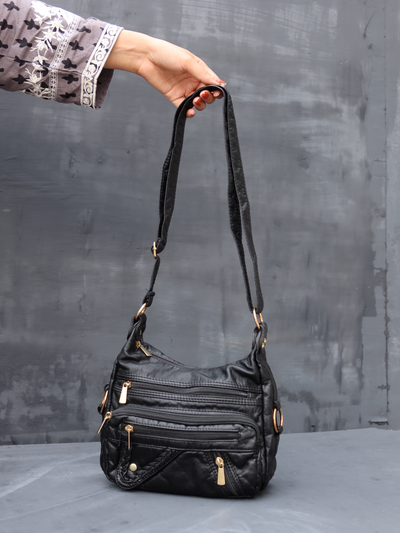 Black Leather Bag - leftover.pk