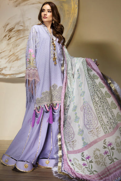 Majestic Lilac - Chikankari+Lawn Embroidered Shirt Digital Printed Chiffon Dupatta & Dyed Matching Trouser Ready To Wear - leftover.pk