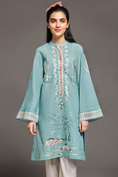 MINT BLUE- 1 pc PRET (Stitched) - Embroidered Cambric Shirt - leftover.pk
