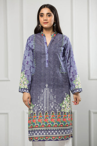 Unstitched Digital Printed Shirt-023-307 - leftover.pk