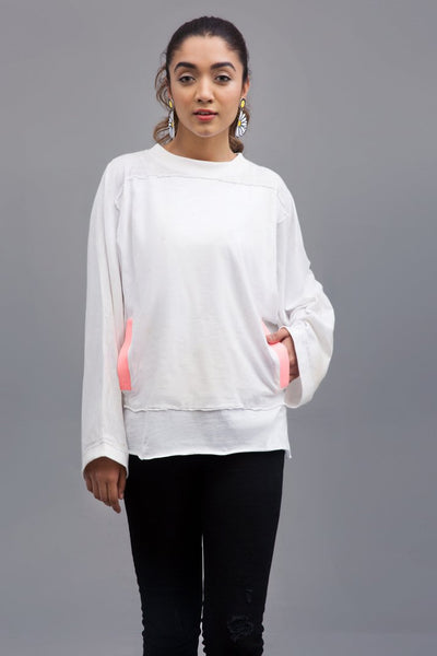 SOFT WHITE JUMP TOP - Knit Fusion Top | Slub Jersey Fabric - leftover.pk