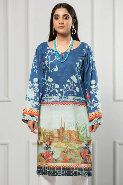 Unstitched Digital Printed Shirt-037-307 - leftover.pk