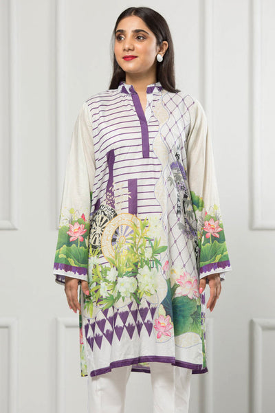 Unstitched Digital Printed Shirt-047-307 - leftover.pk