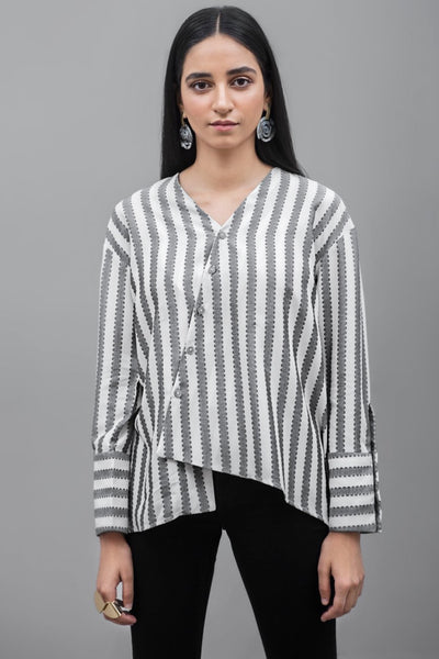 Limited edition YES striped Top Linen Fabric - leftover.pk