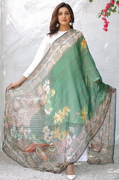 (C03) Digital Printed Pure Chiffon Dupatta (115-DP-010) - leftover.pk