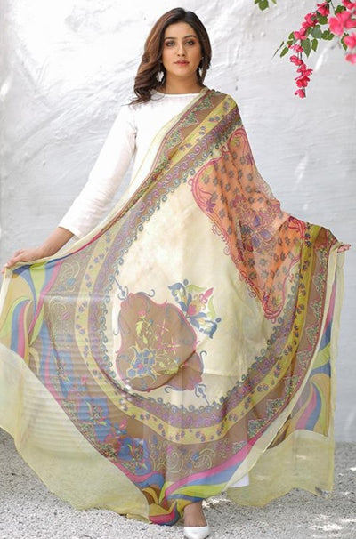 (C03) Solid Printed Pure Chiffon Dupatta (115-DP-015) - leftover.pk