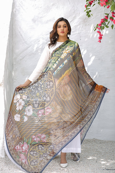 (C03) Digital Printed Pure Chiffon Dupatta (115-DP-027) - leftover.pk