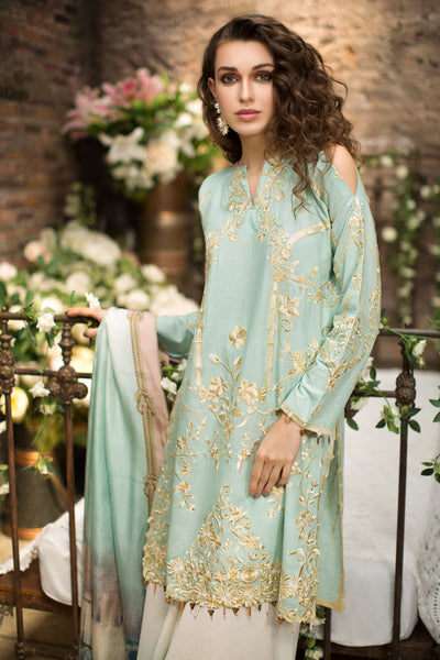 Mint Designer Embroidered Lawn Shirt (Without Sleeves) - FRONT (1.25 mtr) - leftover.pk