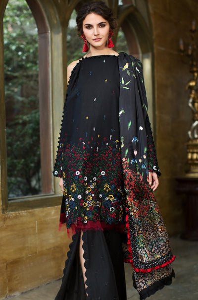 Moderna Floral Designer Embroidered Lawn Shirt (Without Sleeves) - FRONT (1.25 mtr) - leftover.pk
