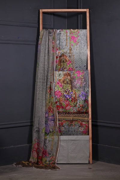 (B02) 3 Pc Unstitched Printed & Embroidery Lawn Shirt + Chiffon Dupatta + Trousers (185-3PU-007) - leftover.pk