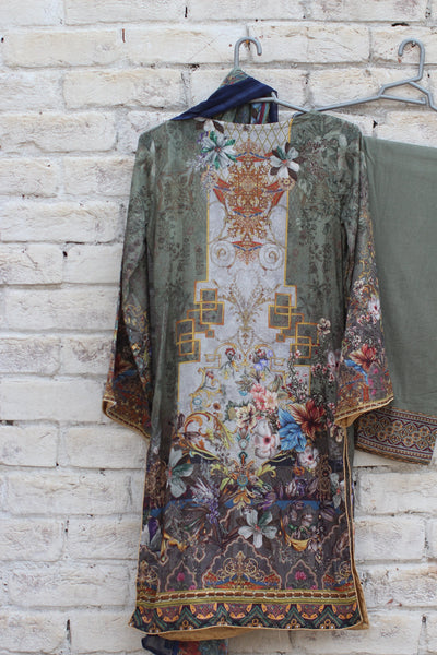 3pc- Ready To Wear DIGITAL PRINTED AND EMBROIDED SHIRT + DUPATTA: PRINTED CHIFFON, TROUSER: PLAIN 1-2001 - leftover.pk