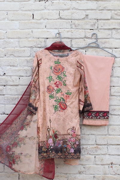 3pc- Ready To Wear DIGITAL PRINTED AND EMBROIDED SHIRT + DUPATTA: PRINTED CHIFFON, TROUSER: PLAIN 1-2000 - leftover.pk