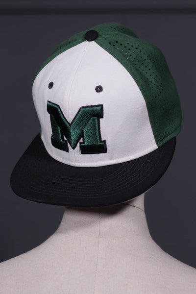 White, Black & Green Mens Cap - leftover.pk