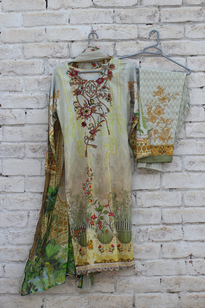 3pc- Ready To Wear Shirt: Digital Printed Embroided Lawn + Dupatta: DIGITAL PRINTED CRINKLE Trouser: DIGITAL PRINTED 1-1829 - leftover.pk