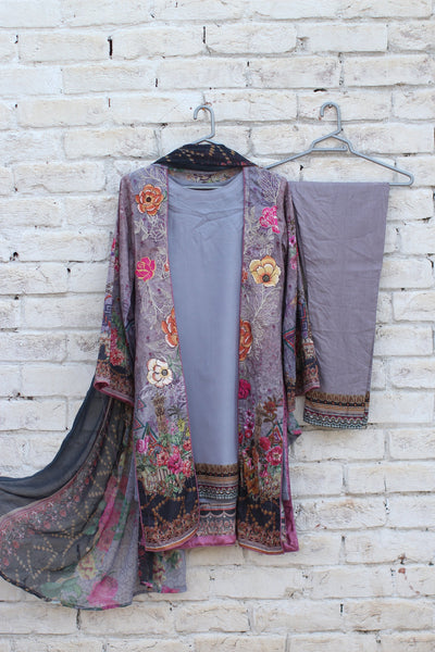 3pc- Ready To Wear DIGITAL PRINTED AND EMBROIDED SHIRT + DUPATTA: PRINTED CHIFFON + TROUSER: PLAIN 1-1994 - leftover.pk