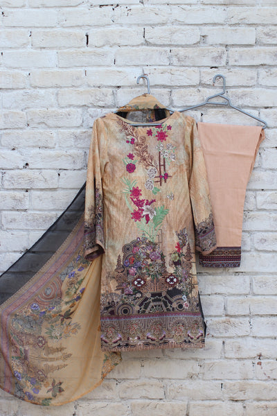 3pc- Ready To Wear DIGITAL PRINTED AND EMBROIDED SHIRT + DUPATTA: PRINTED CHIFFON, TROUSER: PLAIN 1-1999 - leftover.pk