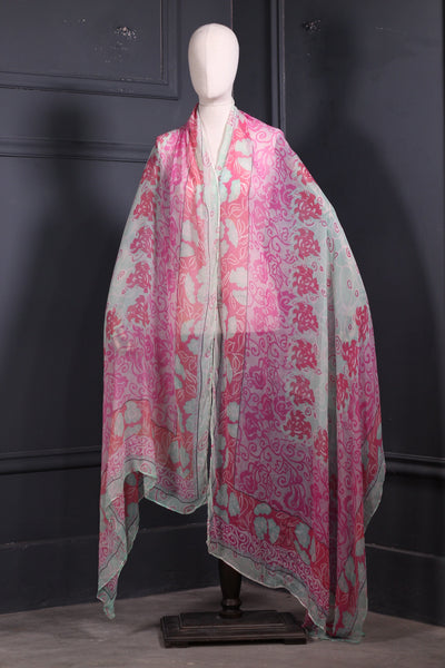 Digital Printed Pure Chiffon Dupatta Pink Flowers - 2307 - leftover.pk