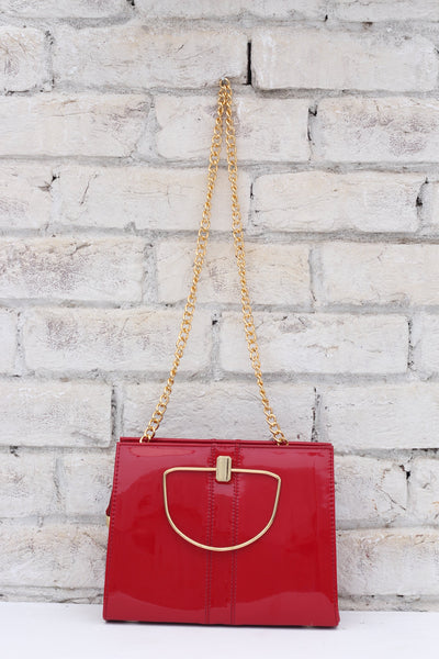 Ladies Red Leather Chain Bag - leftover.pk